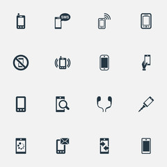 Vector Illustration Set Of Simple Smartphone Icons. Elements Outgoing Calls, Investigate On Phone, Front Camera And Other Synonyms Forbidden, Outgoing And Incoming.