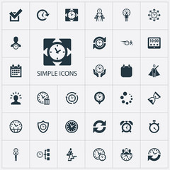 Vector Illustration Set Of Simple Management Icons. Elements Time Management, Refresh, Director And Other Synonyms Administrator, Meeting And Calendar.