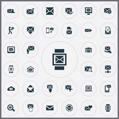 Vector Illustration Set Of Simple Communication Icons. Elements Look For, Sent, Postal Box And Other Synonyms Open, Update And Hot.