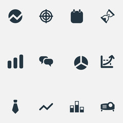 Vector Illustration Set Of Simple Presentation Icons. Elements Conversation, Segment, Goal And Other Synonyms Aim, Calendar And Economics.