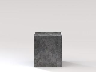 Empty black concrete podium on white background. 3D rendering.