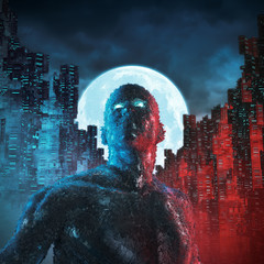 Urban android moon / 3D illustration of male robot in futuristic city under a full moon