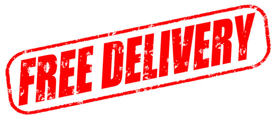 free delivery red stamp on white background