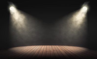 Spotlights illuminate empty stage with dark background. 3d rendering
