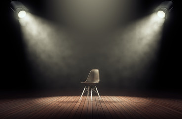 Spotlights illuminate empty stage with chair in dark background. 3d rendering