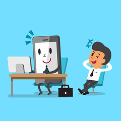 Business concept cartoon smartphone working and relax businessman sit on a chair