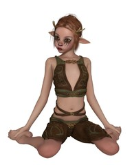 Cute Forest Elf or Faun with pointed ears, deer makeup and antlers, kneeling - fantasy illustration