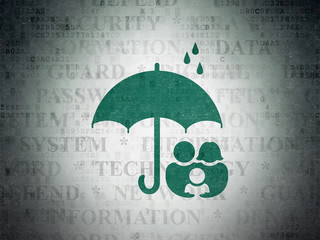 Safety concept: Family And Umbrella on Digital Data Paper background