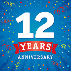 12 years anniversary logo celebration card. 12th years anniversary vector background with red ribbon and colored confetti on blue flash radial lines