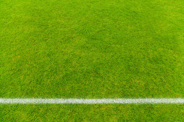 Top view of White stripe on soccer field