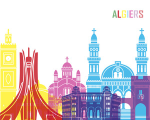 Fototapete - Algiers skyline pop