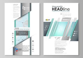 The abstract minimalistic vector illustration of the editable layout of two modern blog graphic pages mockup design templates. Futuristic high tech background, dig data technology concept.