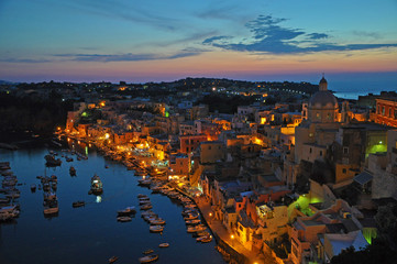 Canvas Prints Turkey Magical views of a night city on the island of Procida