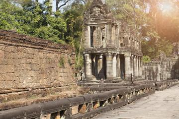 gallery in temple Preah Khan ruins(12th Century) in Angkor Wat, Siem Reap, Cambodia..