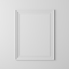 3d blank frame poster on white wall