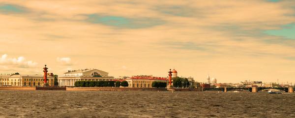 Panoramic view of the Neva River embankment in St. Petersburg.