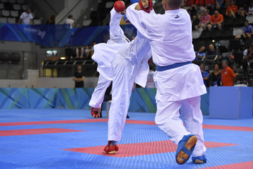 Karate fighters during competition