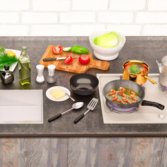 Kitchen table with ingredients and utensils. Top view. Square.