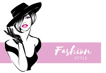 Black and white retro fashion woman portrait with pink background. Model silhouette sketch style hand drawn vector