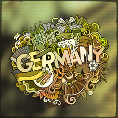 Cartoon vector hand drawn Doodle Germany word illustration