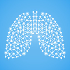 Human Lungs Isolated On A Blue Background. Vector Illustration.Pulmonology. Creative Medical Concept