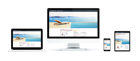 Wall Mural - realistic devices isolated with resort and spa website