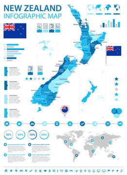 New Zealand - infographic map and flag - illustration