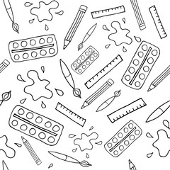 seamless art tools pattern vector illustration