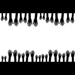 Hands silhouette isolated on white background