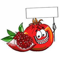Cute pomegranate and banner