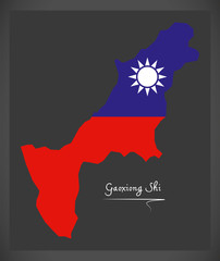 Gaoxiong Shi Taiwan map with Taiwanese national flag illustration