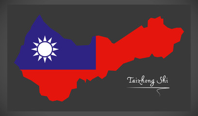 Taizhong Shi Taiwan map with Taiwanese national flag illustration