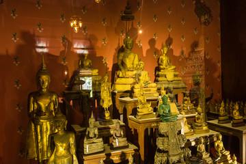 Ratchaburi, Thailand - July, 23, 2017 : Golden Buddha statue in Wat Khanon at Ratchaburi, Thailand