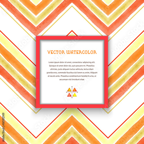 Vector frame  Pattern with watercolor zigzag  Hand drawing