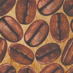 Seamless pattern with watercolor coffee beans