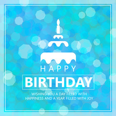 Happy birthday card with cake sign and Greetings on blue sky bokeh abstract background
