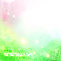 Watercolor vector  background with sparks. Spring colors.