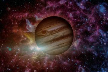 Planet Jupiter. Nebula on the background. Elements of this Image Furnished by NASA