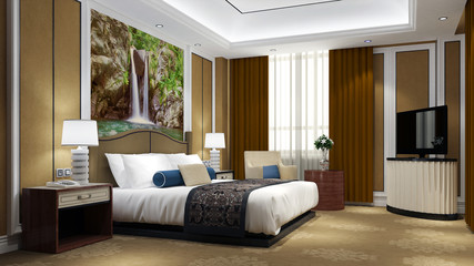 Bett in Zimmer im Hotel