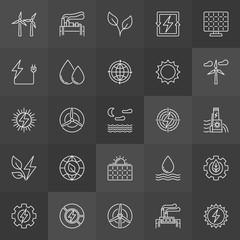 Renewable energy resources icons