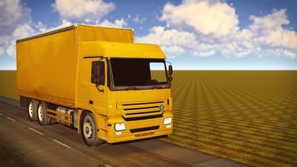 White van traveling on the roads 3d rendering