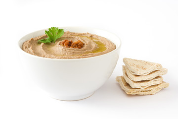 Lentil hummus and pita bread isolated on white background