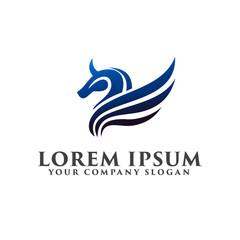 horse wing logo. luxury design concept template