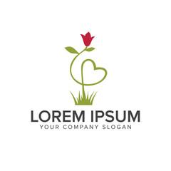 flower grass logo design concept template