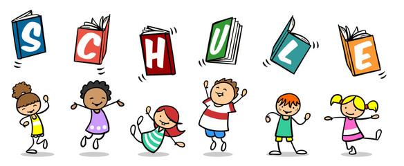 Kinder freuen sich über Einschulung in die Schule