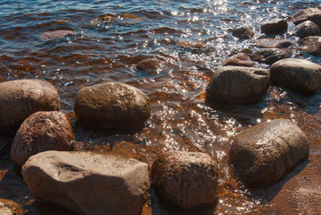 coast in summer with stones