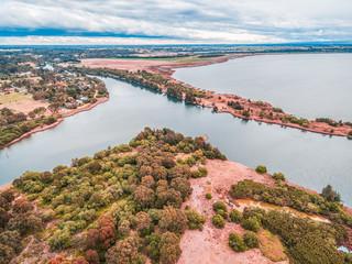 Aerial view of Eagle Point Gippsland Lakes Reserve, Victoria, Australia