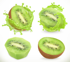 Kiwi fruit juice. Fresh fruits and splash, 3d realistic vector icon