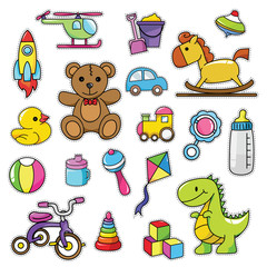 Modern Cute 80s-90s Retro Baby Isolated Fashion Cartoon Illustration Set Suitable for Badges, Pins, Sticker, Patches, Fabric, Denim, Embroidery and Other Girly Related Purpose