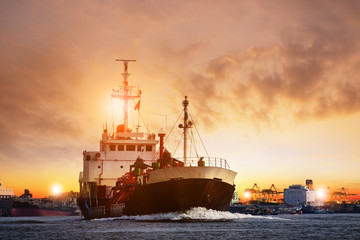 transportation of lpg gas tanker ship against beautiful  sky